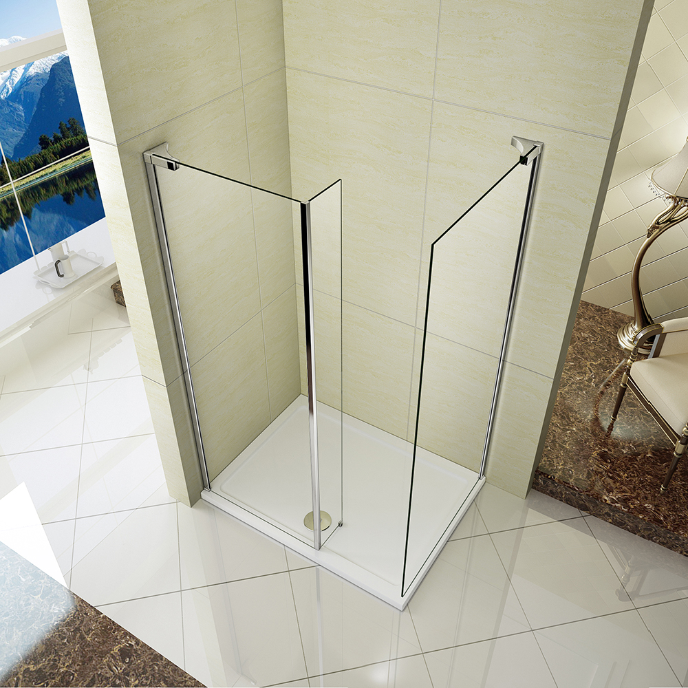 Pivot bath chrome 180 shower screen over 6mm glass door for Wet room seal