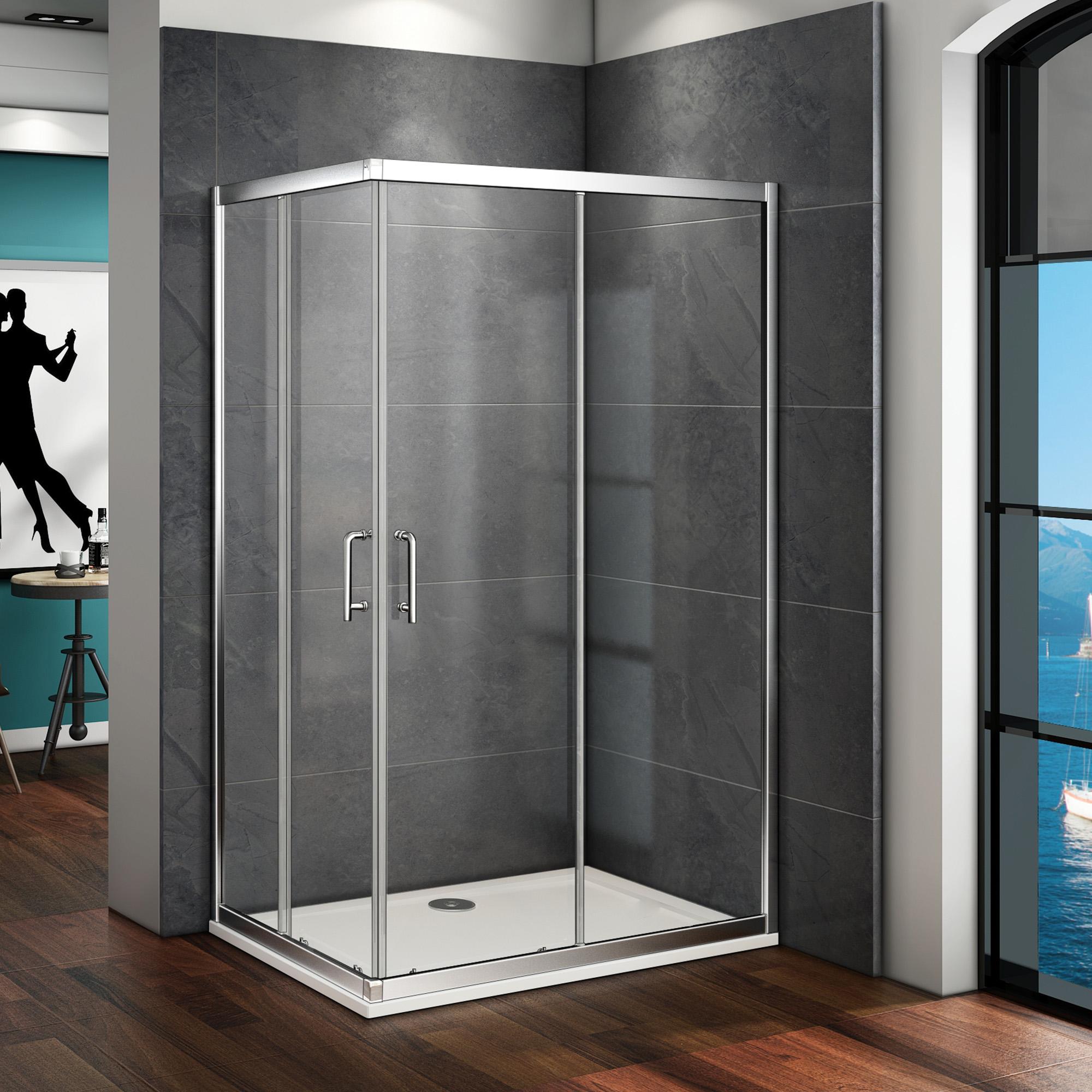 2000 #237BA8  Corner Entry Shower Enclosure Sliding Cubicle Glass Double Door EBay image Ebay Entry Doors 41532000