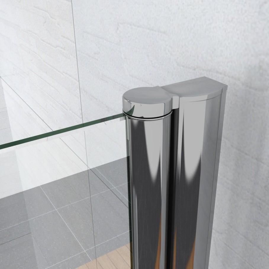 Aica Pivot Folding Hinge Bath Screen Shower Door Panel 1400mm Glass