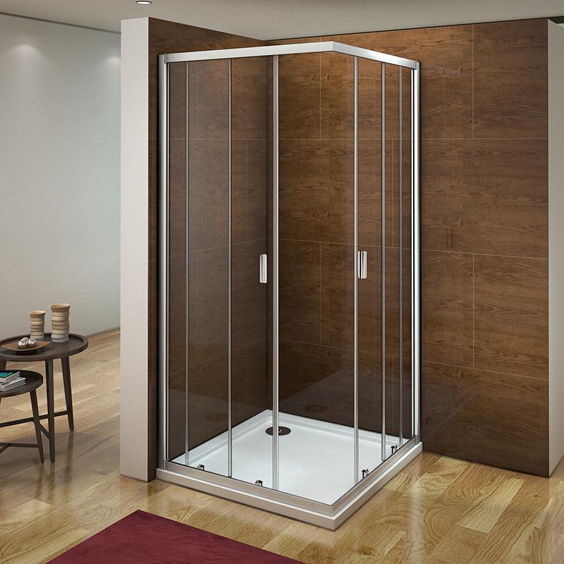 Aica Corner Entry Shower Enclosure Tray Sliding Door