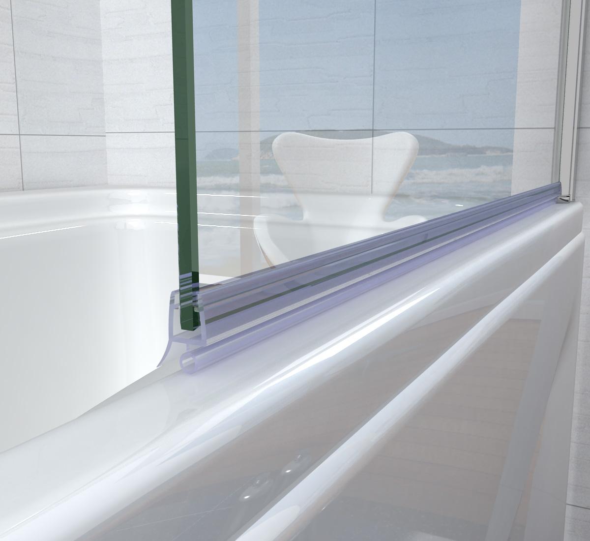 NEW DESIGN 800x1400mm 180 Pivot Bath Shower Screen Aica Door Panel Sea