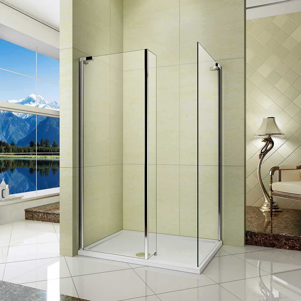 L Shape Walk In Wet Room Shower Enclosure Cubicle Fixed
