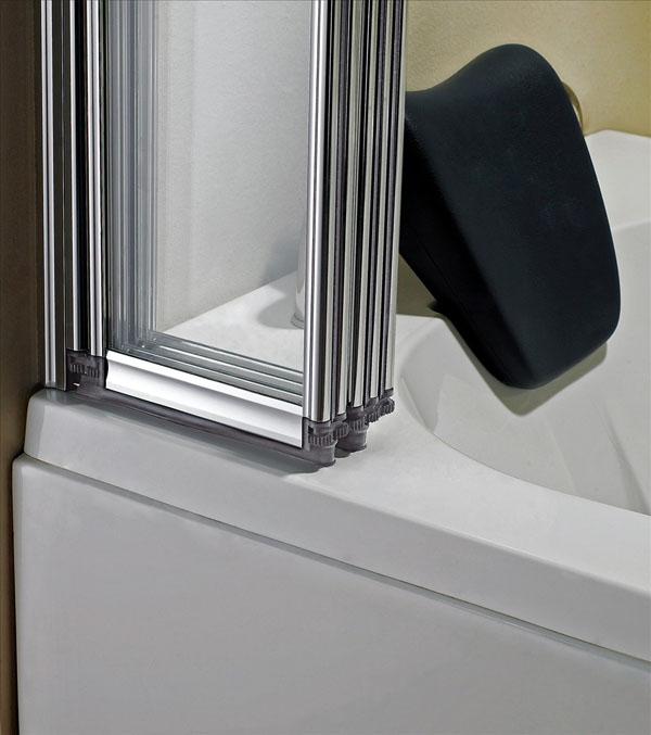 1 2 3 4 5 folds folding chrome bath shower screen bathroom for Folding shower for small bathrooms