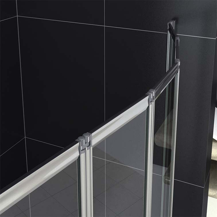 1 2 3 4 5 Fold Pivot Folding Bath Shower Screen 1400 Glass