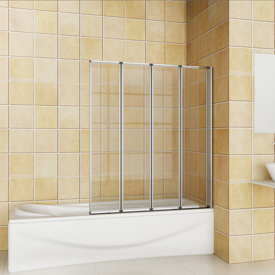 900x1400mm 4 fold folding chrome bathroom shower bath