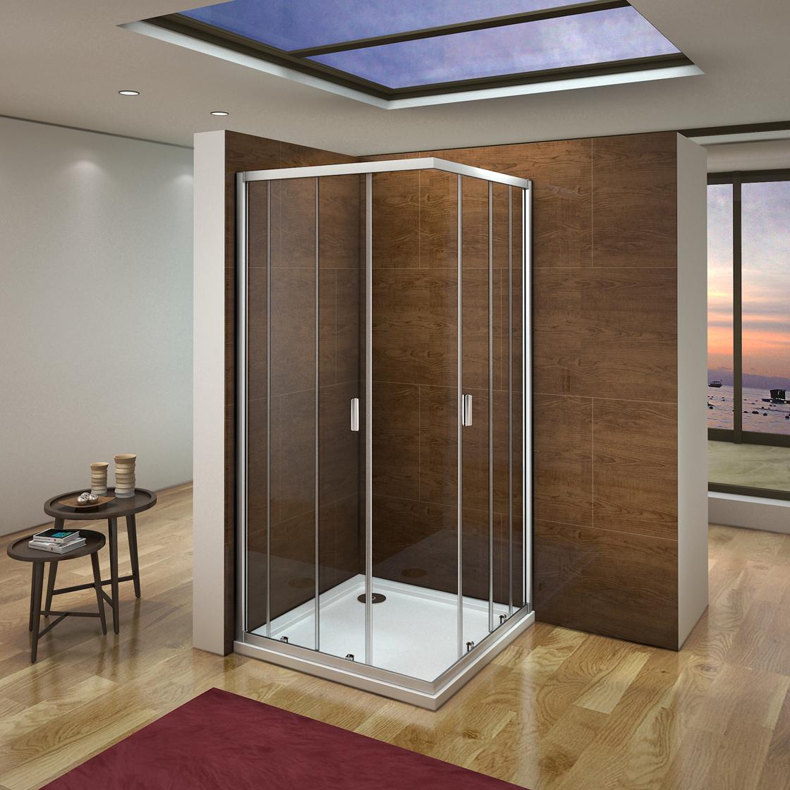 90x90x185cm duschkabine duschabtrennung eckeinstieg schiebet r duscht r dusche ebay. Black Bedroom Furniture Sets. Home Design Ideas