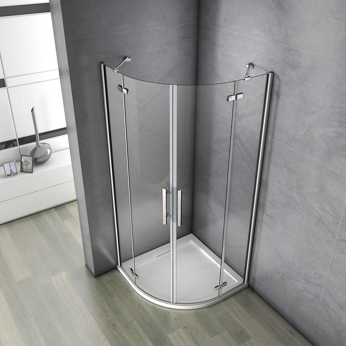 90x90x195cm duschkabine viertelkreis runddusche duschabtrennung acryl duschtasse ebay. Black Bedroom Furniture Sets. Home Design Ideas