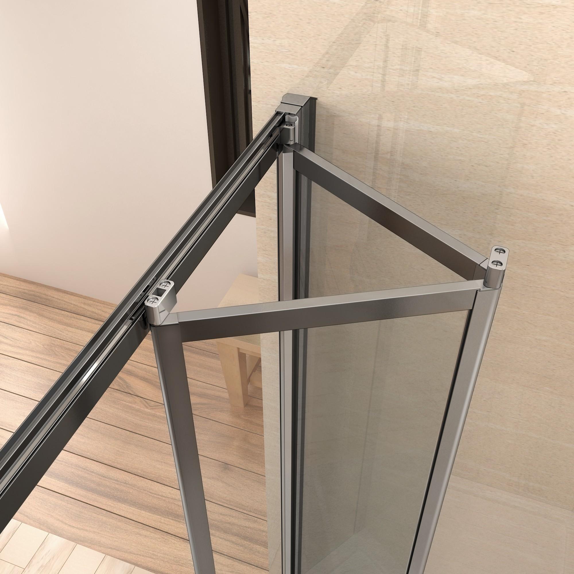 185cm duschkabine duschabtrennung faltt r nischent r for Dusche ohne tasse