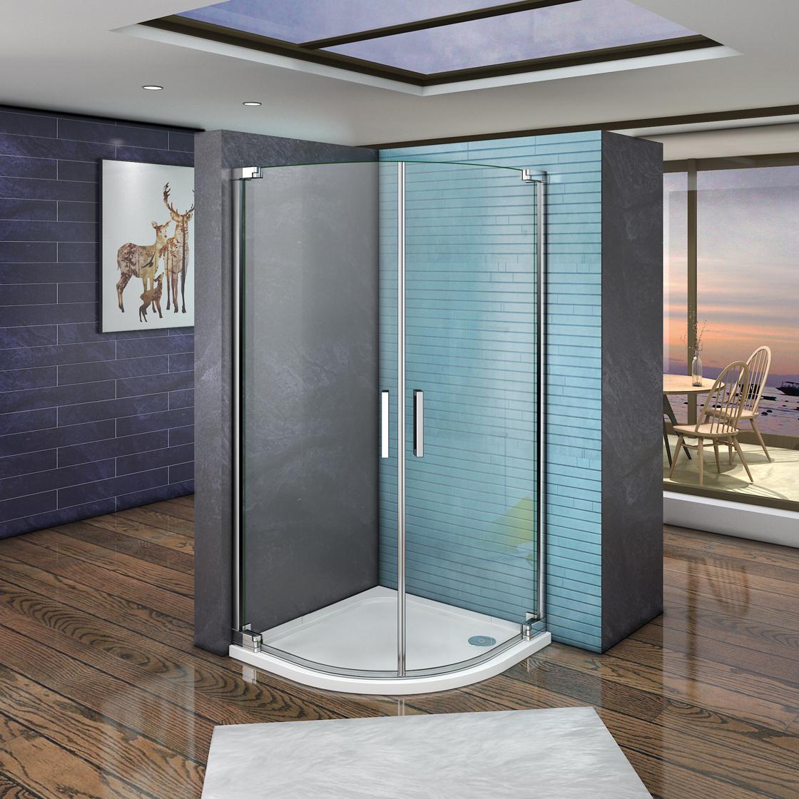 viertelkreis duschkabine duschabtrennung runddusche duschwanne 8mm echtglas ph ebay. Black Bedroom Furniture Sets. Home Design Ideas