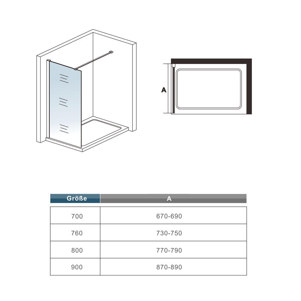 Dusche Glaswand Nano : Dusche Duschwand Duschabtrennung Duschkabine Glaswand 70x185cm NANO