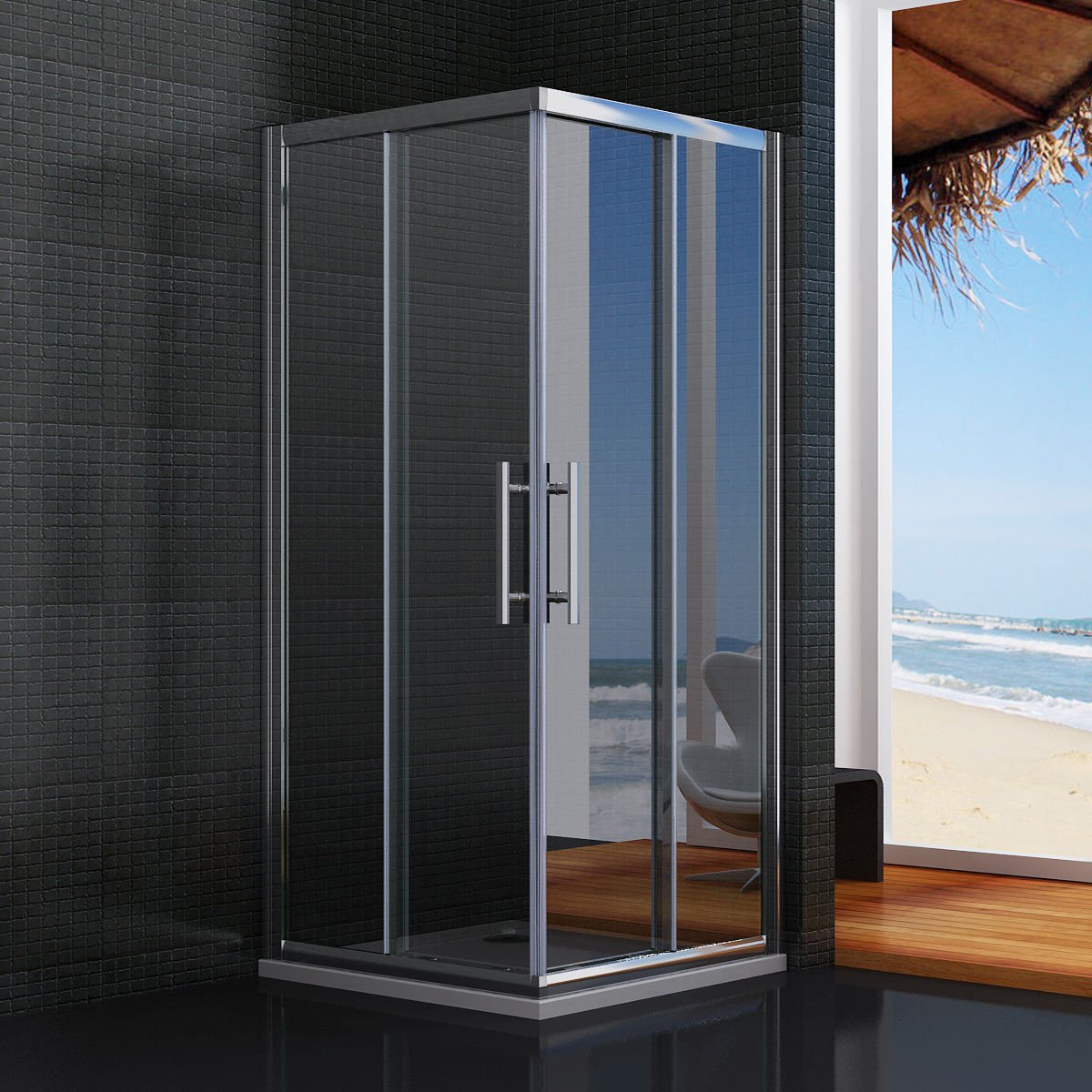Walk in sliding shower enclosure double door corner entry for Corner sliding glass doors
