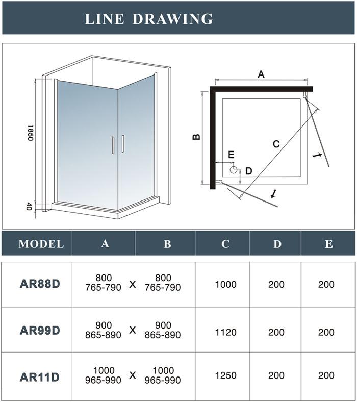 800x800mm walk in shower enclosure 180 swing pivot glass for 180 degree swing door hinges