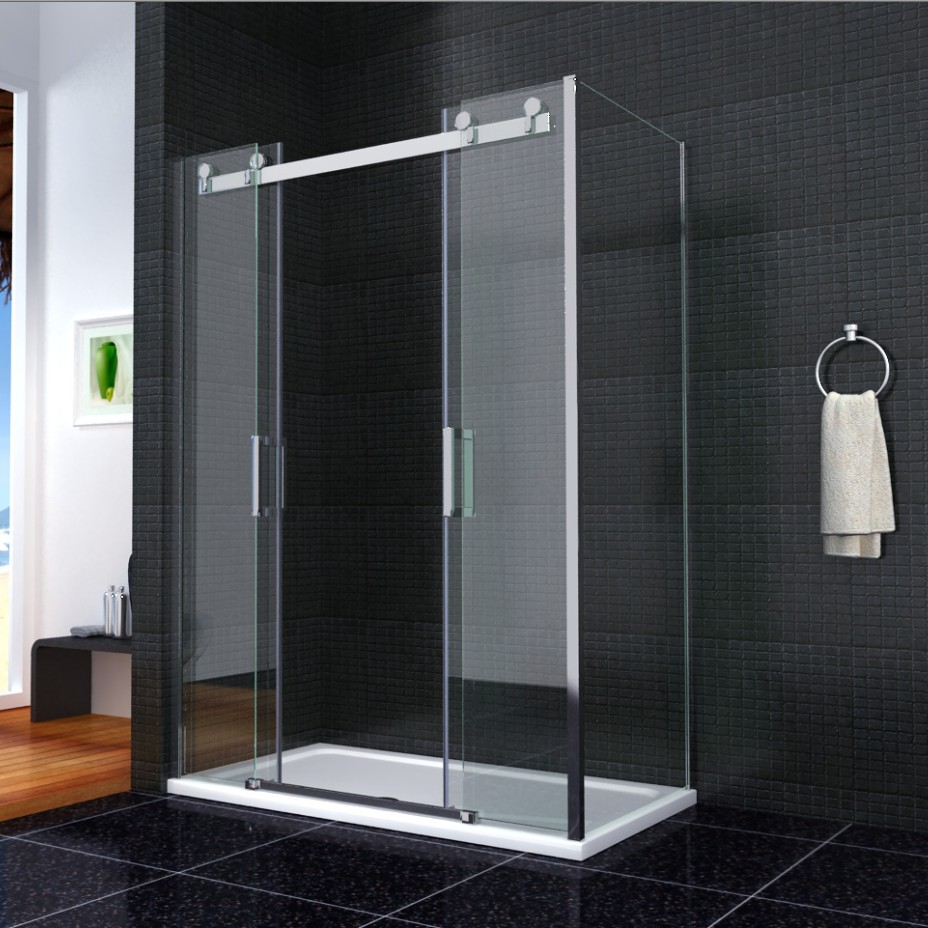 Luxury double sliding shower door enclosure glass screen for 1800mm high shower door