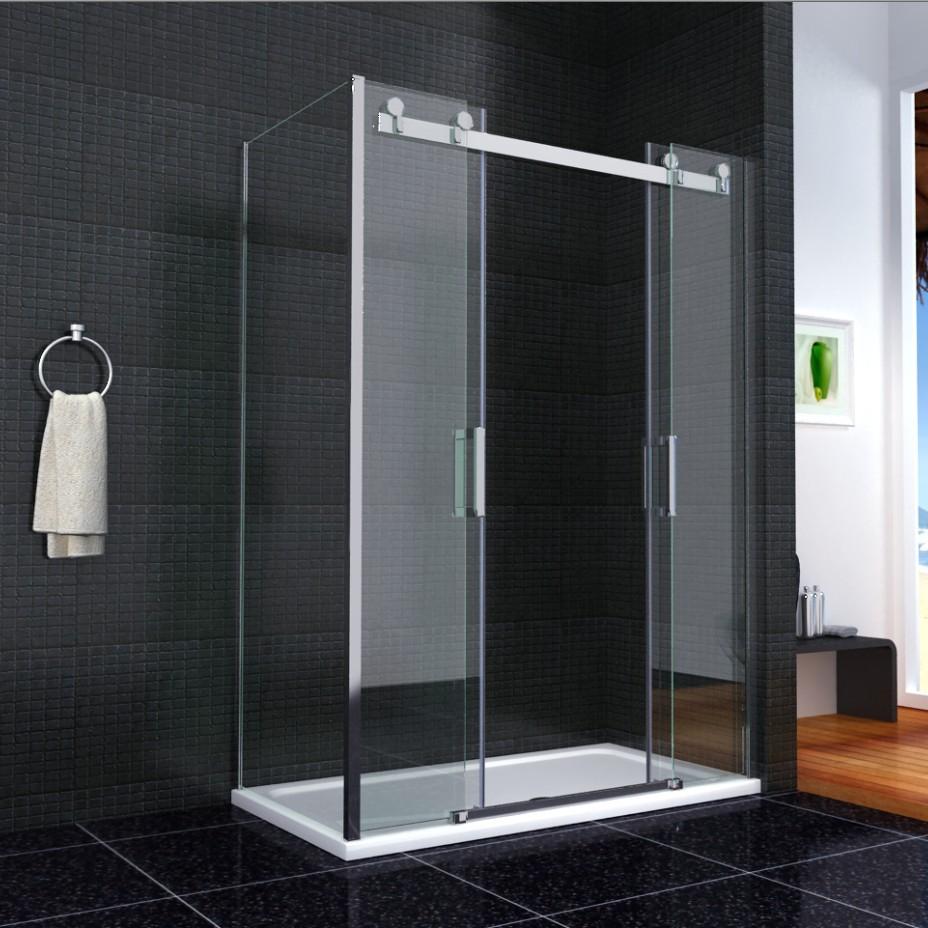 Shower enclosure walk in sliding double door glass cubicle - Walk in shower glass doors ...