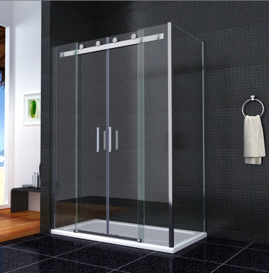 Shower enclosure walk in sliding double door glass cubicle for Double sliding doors