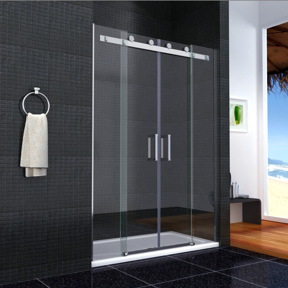 1700x900mm Shower Enclosure Walk In Sliding Double Door Glass Screen Stone Tr
