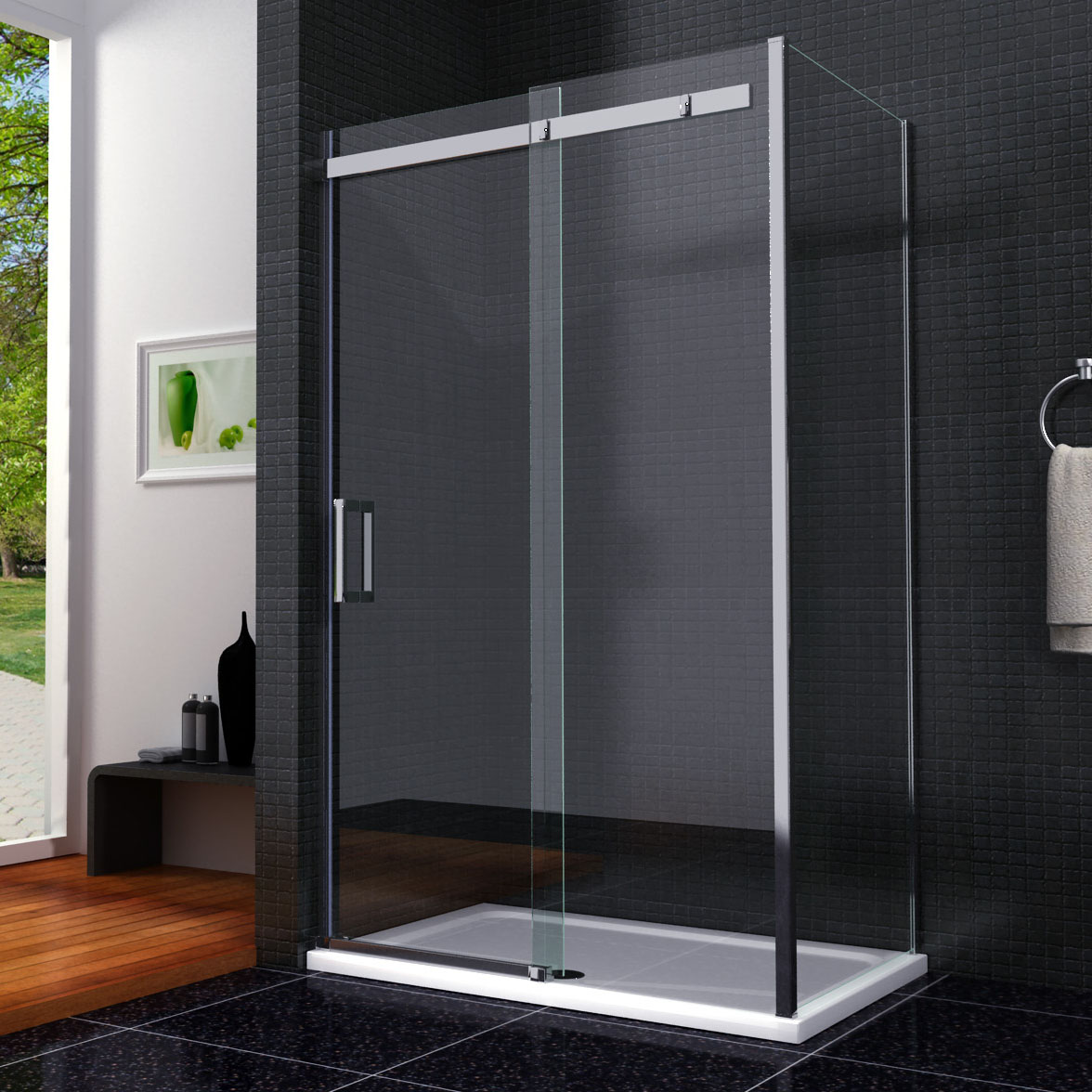 1400 x 700 frameless sliding door shower enclosure cubicle for 1400 sliding shower door