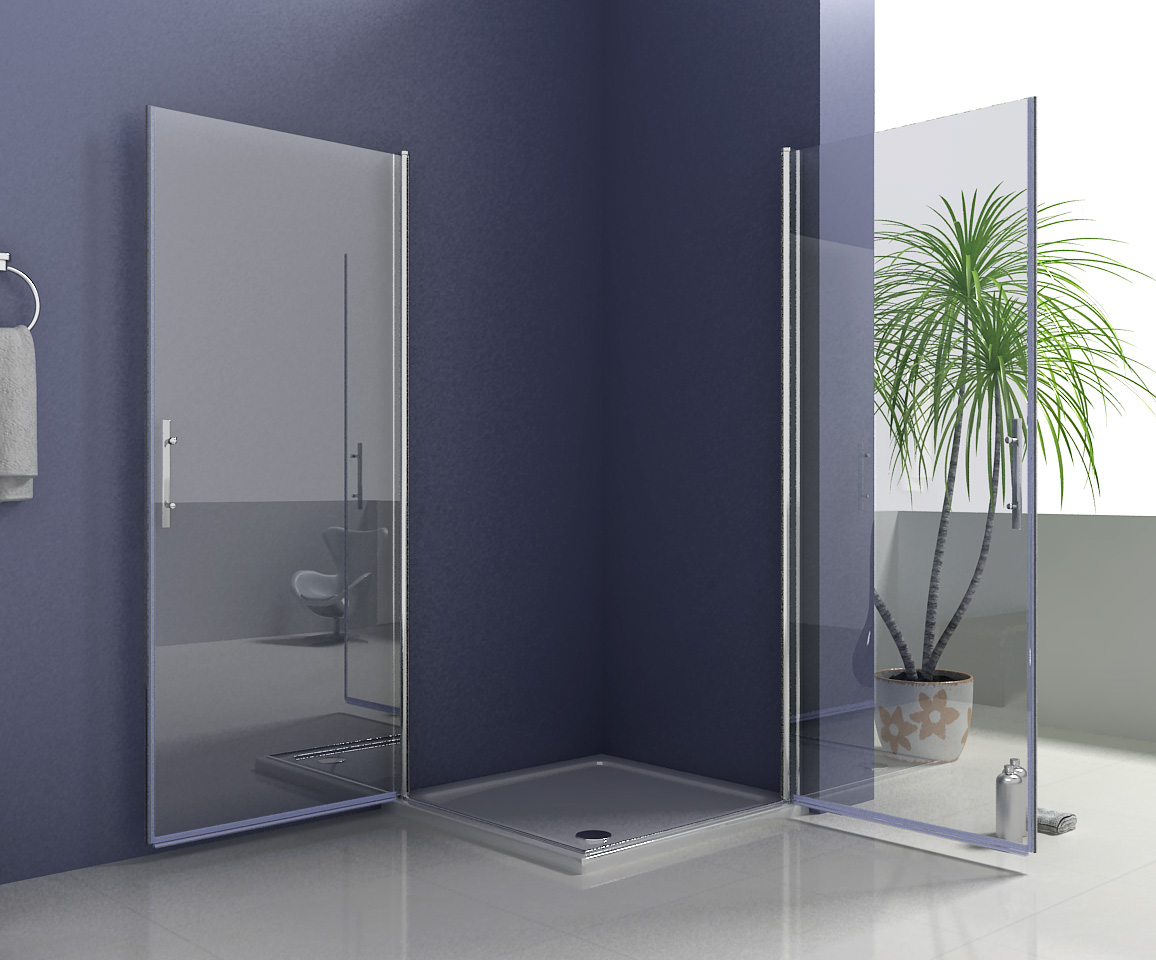 800x800mm Frameless Shower Enclosure 180 176 Swing Pivot