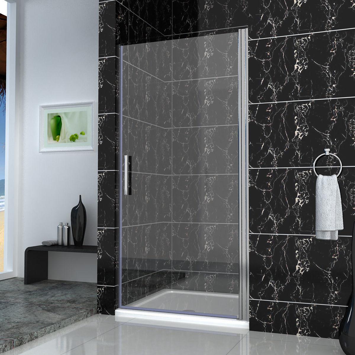 Frameless pivot hinge shower enclosure walk in glass screen door stone