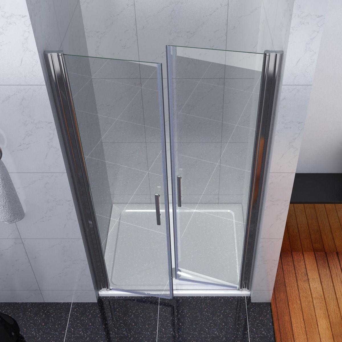 Bathroom double pivot shower door enclosure 6mm glass for 180 degree swing door