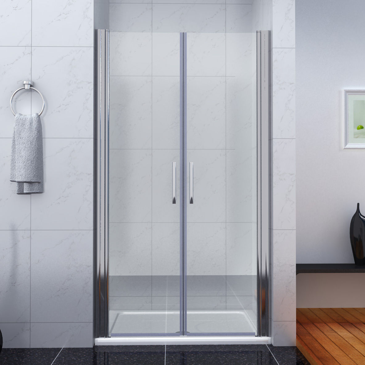 bathroom double pivot shower door enclosure 6mm glass screen cubicle
