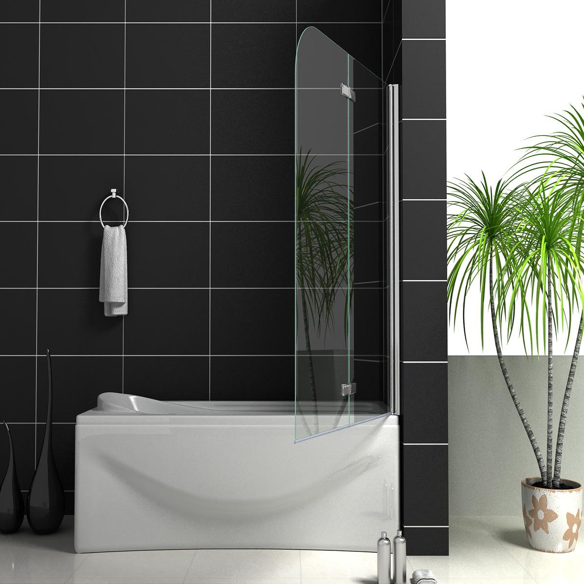 900x1400mm 180 176 Pivot 2 Fold Hinge Bath Shower Screen 6mm