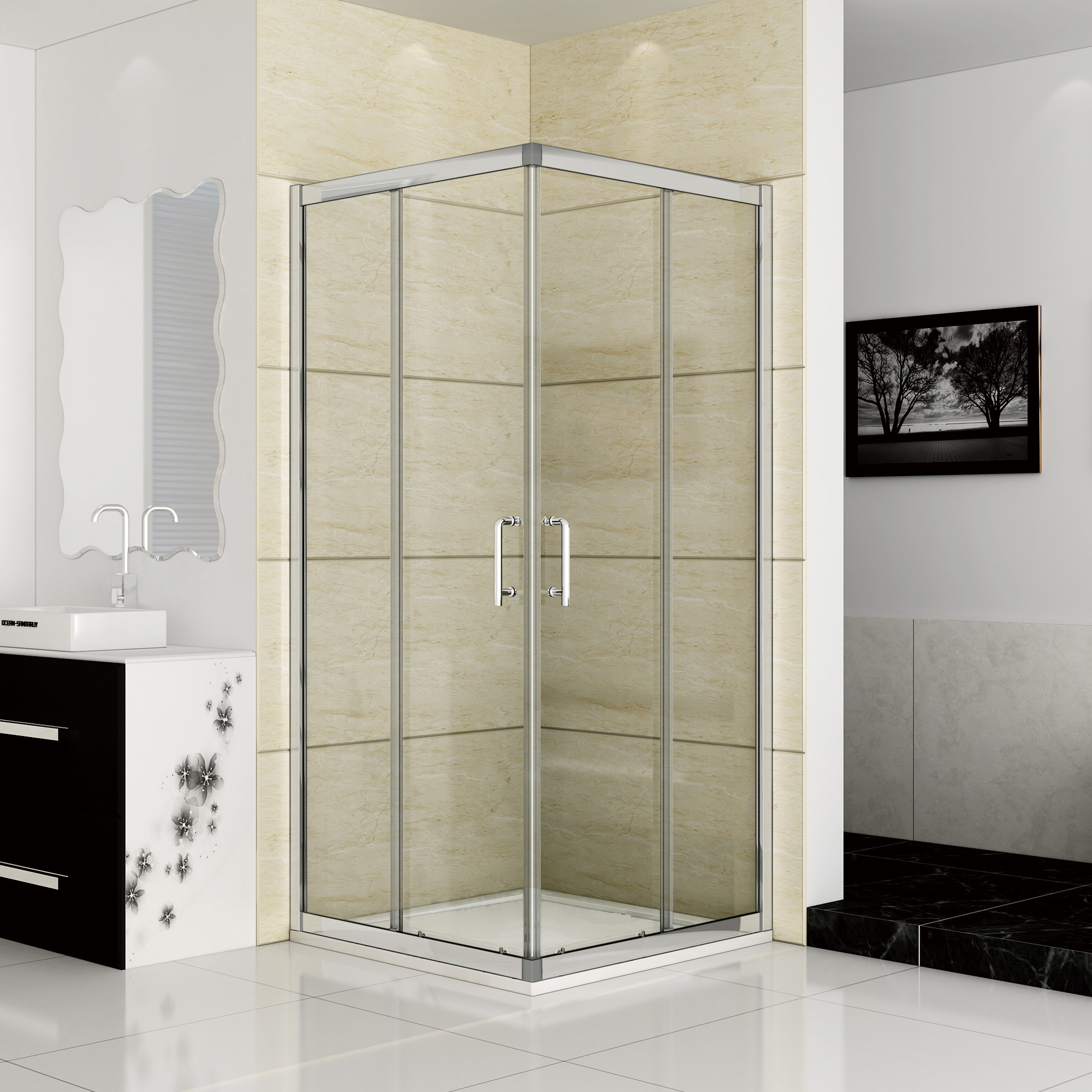 2000 #787053  Sliding Shower Enclosure Corner Entry Glass Cubicle Double Door EBay image Ebay Entry Doors 41532000