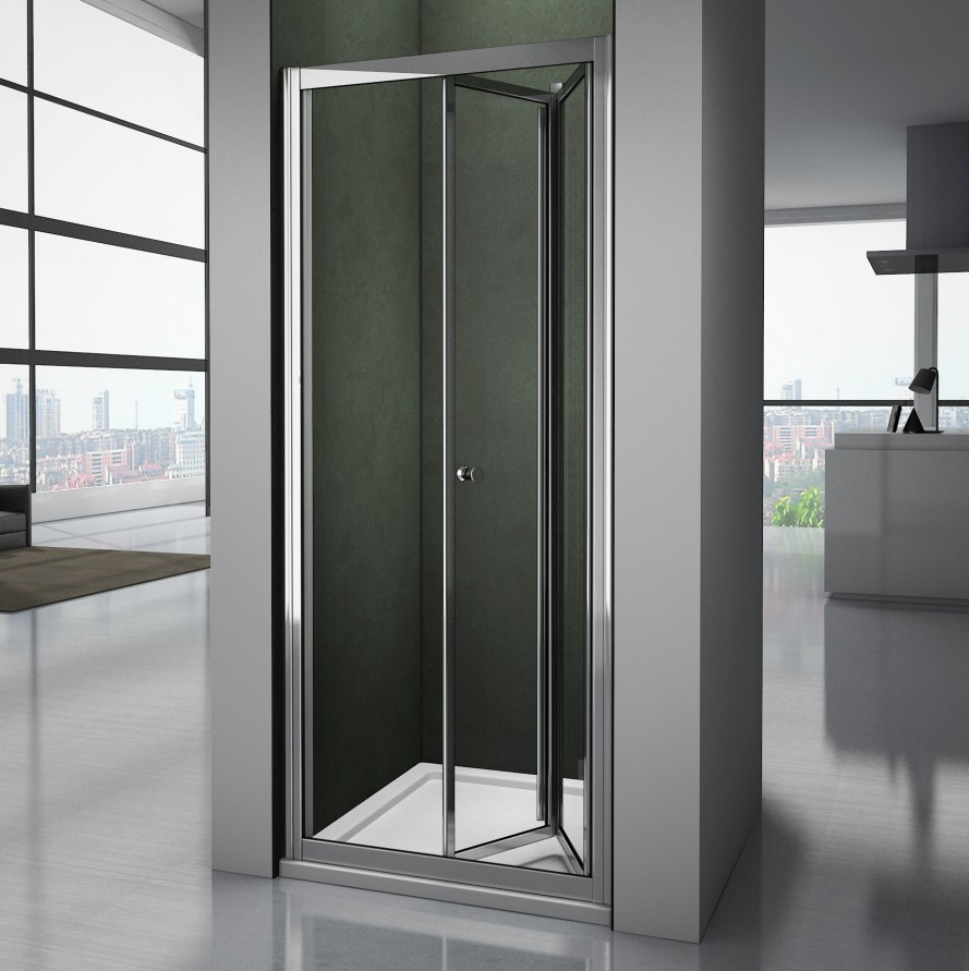 Bathroom shower enclosure chrome bifold shower door walk in glass cubicle screen ebay - Walk in glass shower enclosures ...