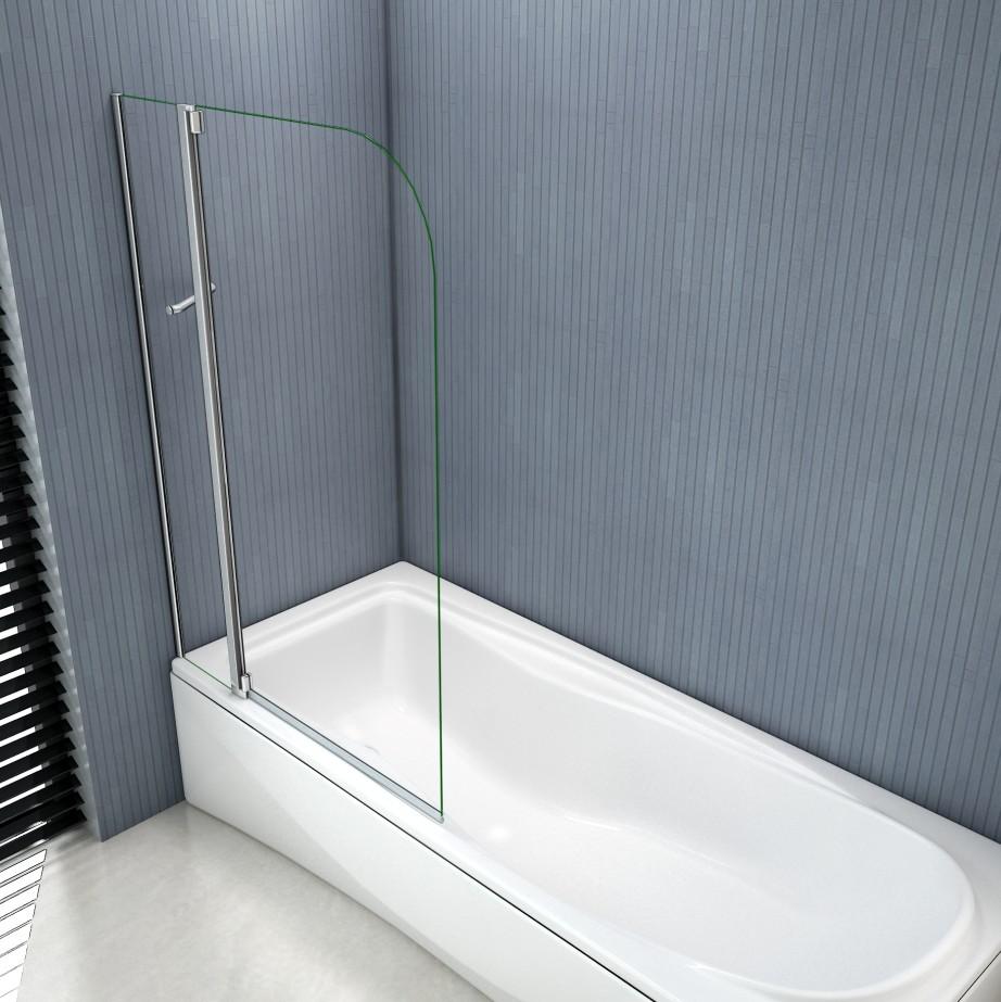Aica Tempered Glass Over Bath Shower Screen Wide Door Panel Pivot Radius