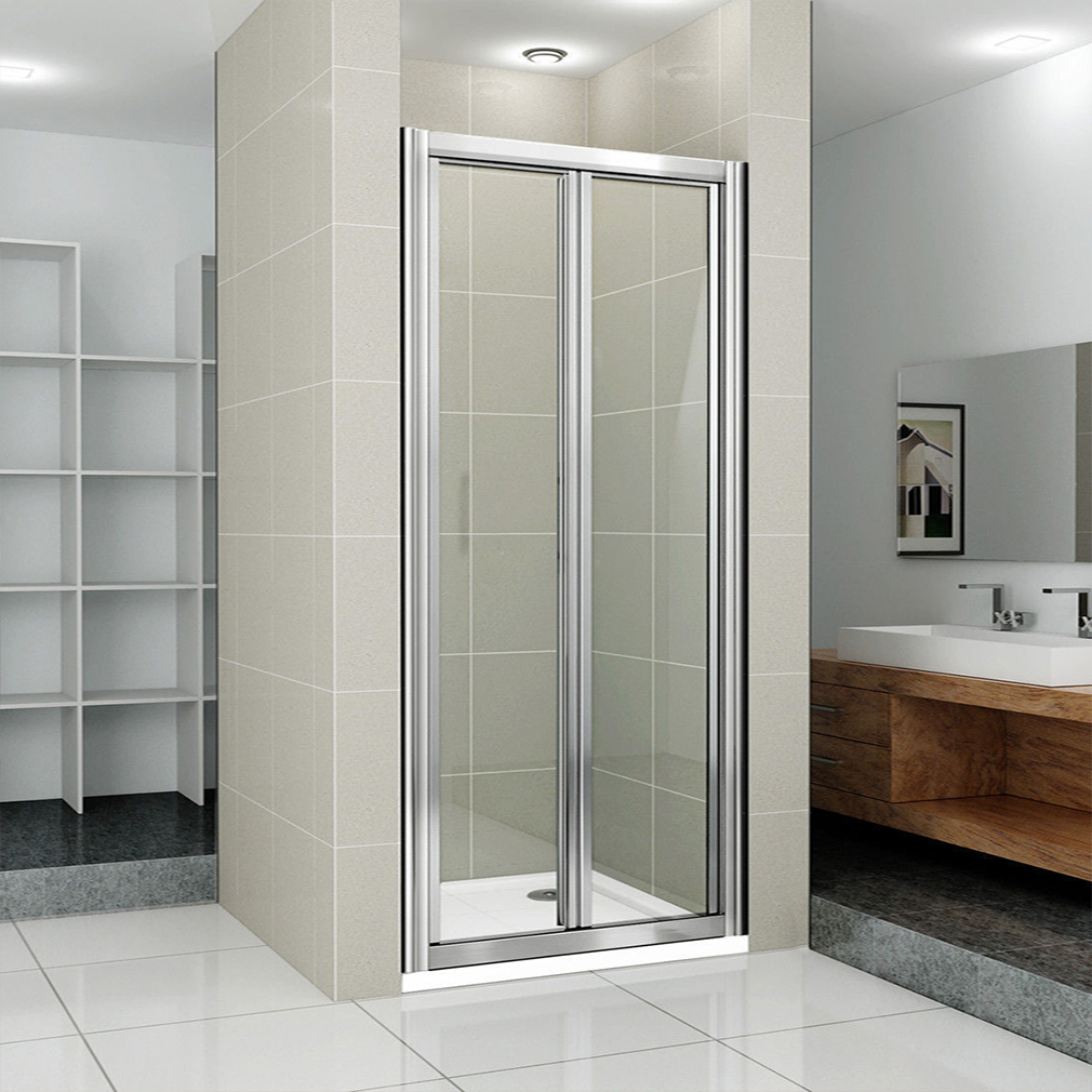 New bifold shower enclosure bathroom walk in cubicle for Bathroom entrance doors