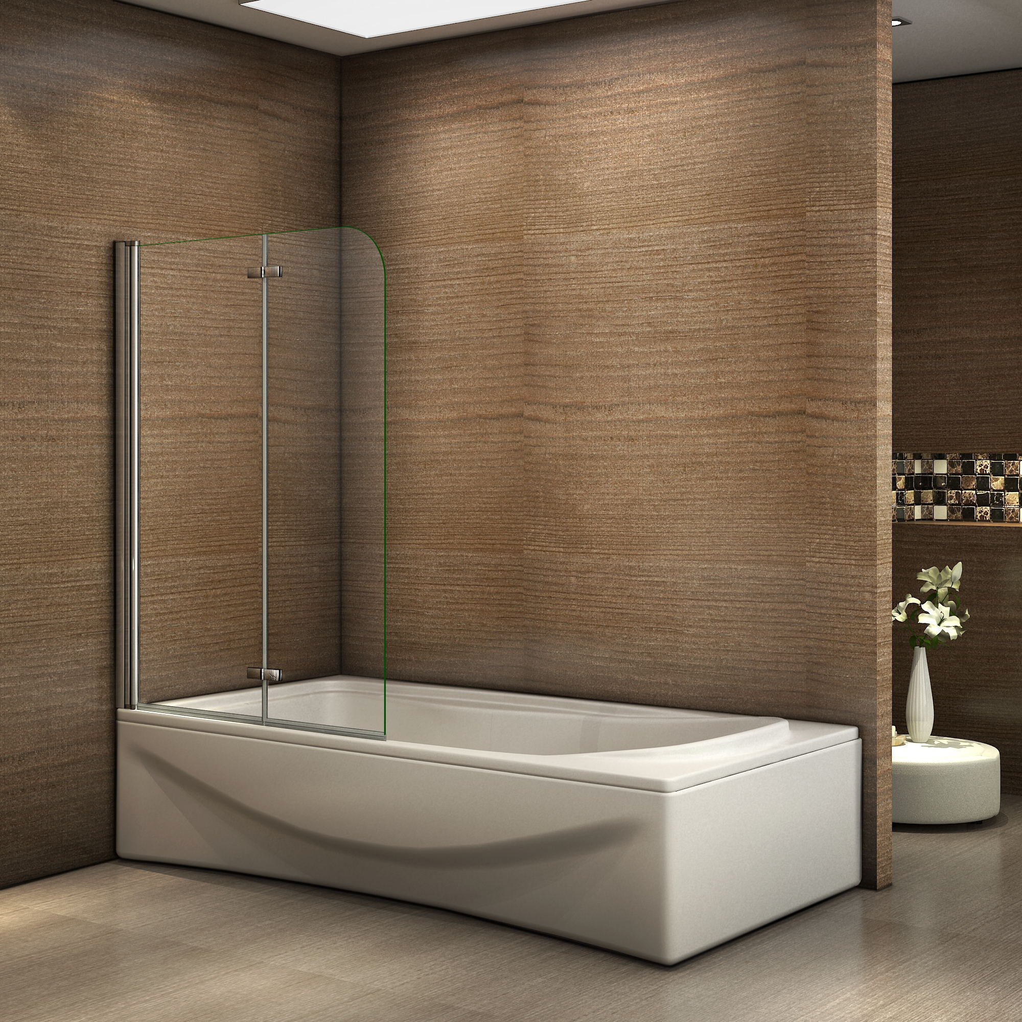 Box doccia parete vasca pieghevole 2 ante cristallo for Parete vasca pieghevole