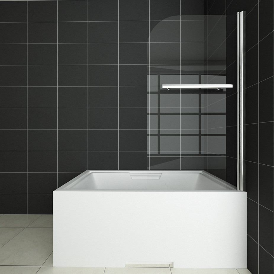1000x1400mm 180 pivot 6mm glass over bath screen double for Glass shower doors for baths