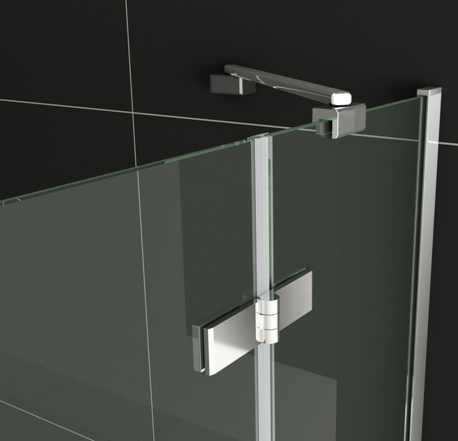 Double Hinged Shower Door : Chrome pivot hinge bath shower screen bathroom single