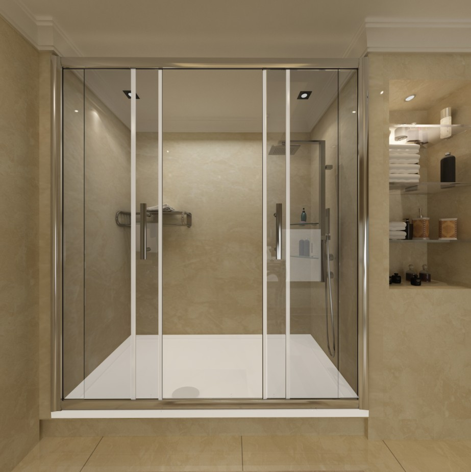 Chrome Sliding Bathroom Walk In Double Shower Door