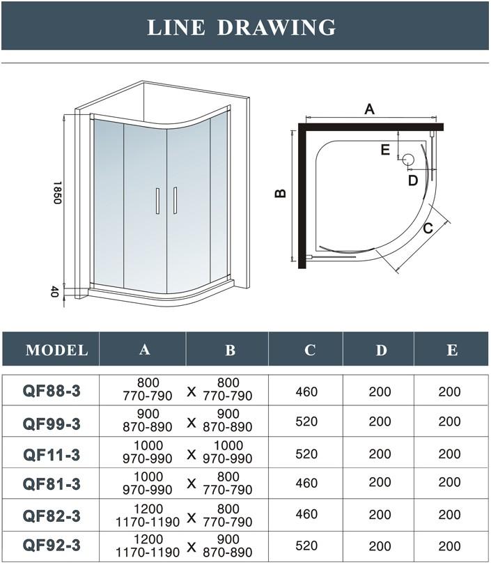 quadrant walk in shower enclosure corner cubicle glass door stone tray