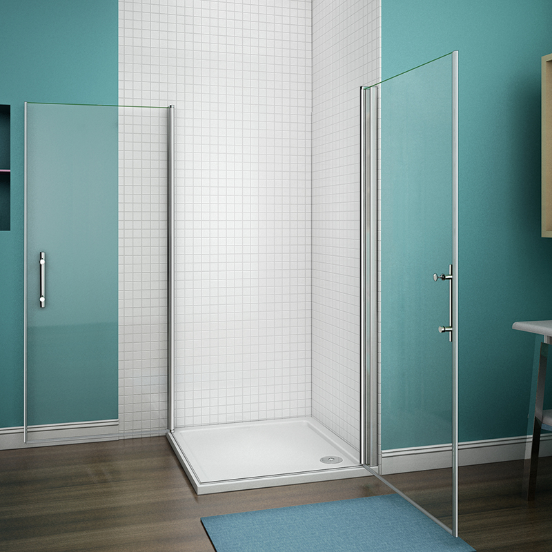 Aica Walk In Pivot Shower Enclosure And Stone Tray 6mm
