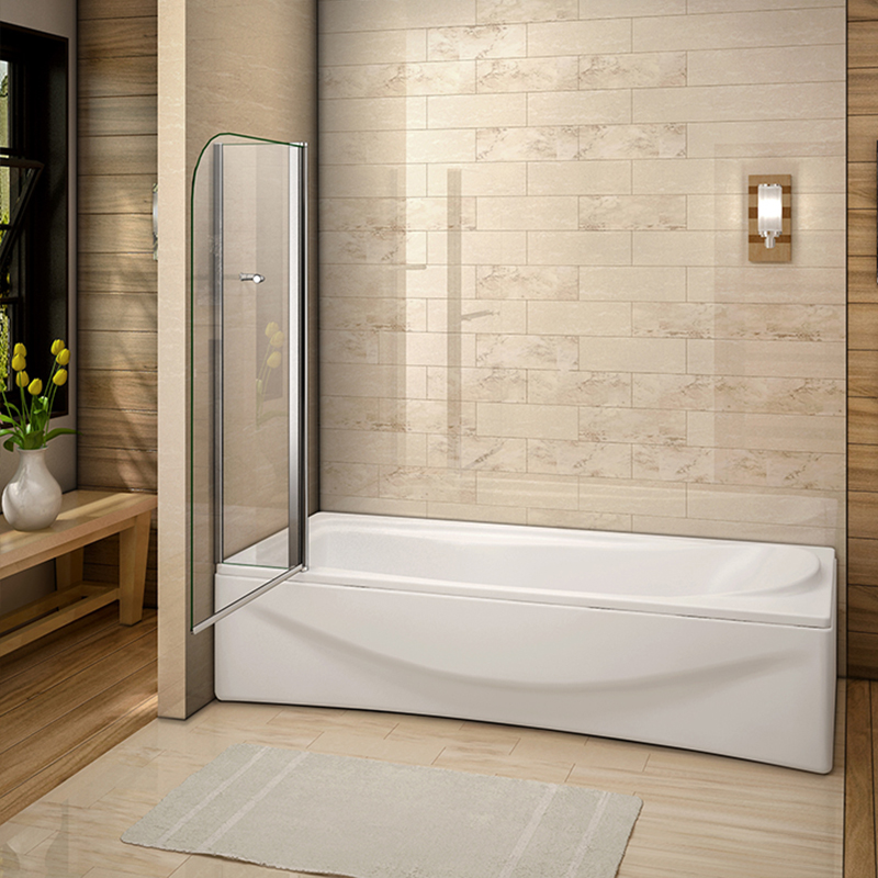 New Aica 180° Pivot Over Bath Shower Screen Tempered Glass Door ...