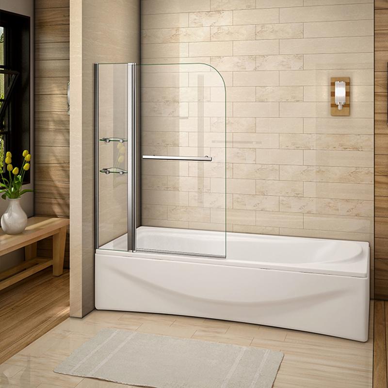 Pivot Hinge Folding Bath Screen Shower Door Panel Seal Tempered Glass