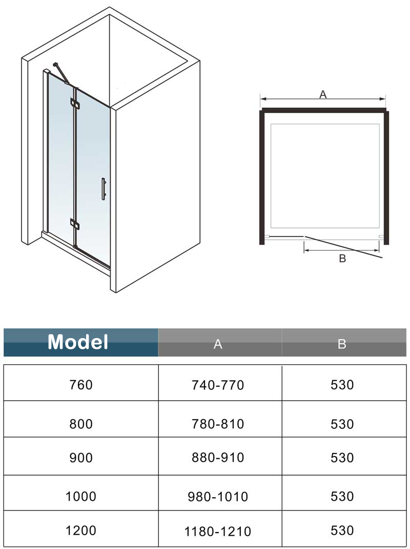 700 760 800 900 1000mm Frameless Hinge Folding Shower