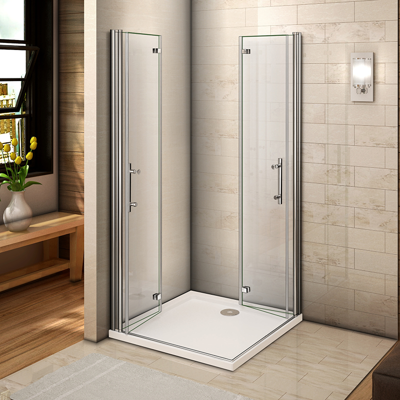 Aica Frameless Pivot Hinge Shower Enclosure And Tray Glass