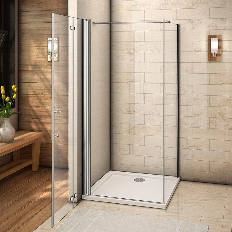 Aica Frameless Bifold Shower Enclosure & Tray Walk In Glass Door ...