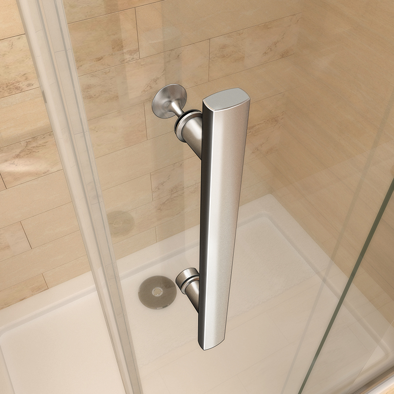 Aica Frameless Double Bi Fold Shower Door Enclosure Tray
