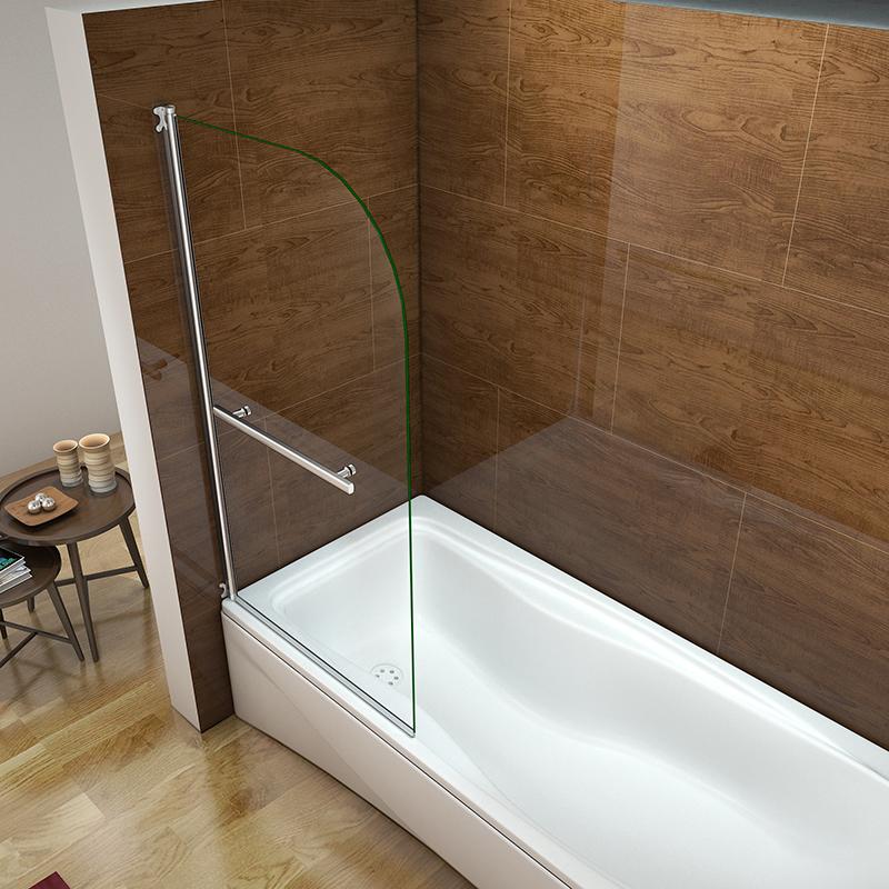 Aica 180° Pivot Glass Over Bath Shower Door Panel Screen