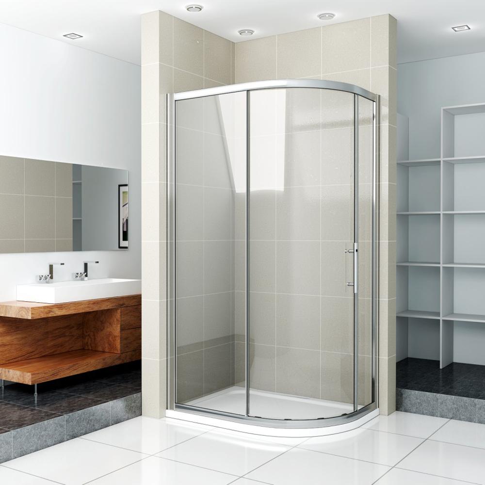 Offset Quadrant Shower Enclosure Amp Tray Corner Cubicle Glass Screen Single Door Ebay