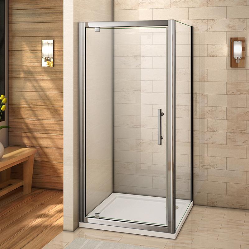 800x760mm double Pivot Shower door Enclosure Stone Tray Inward Space Saving C