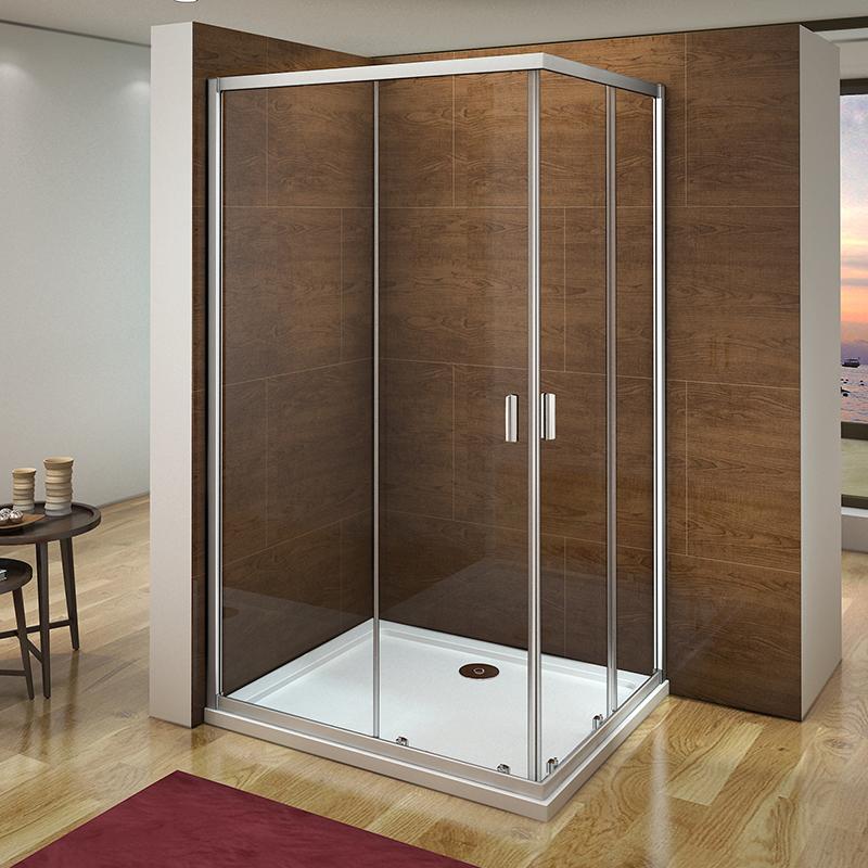 Corner Entry Shower Enclosure Walk In Sliding Door Glass Cubicle 760 ...