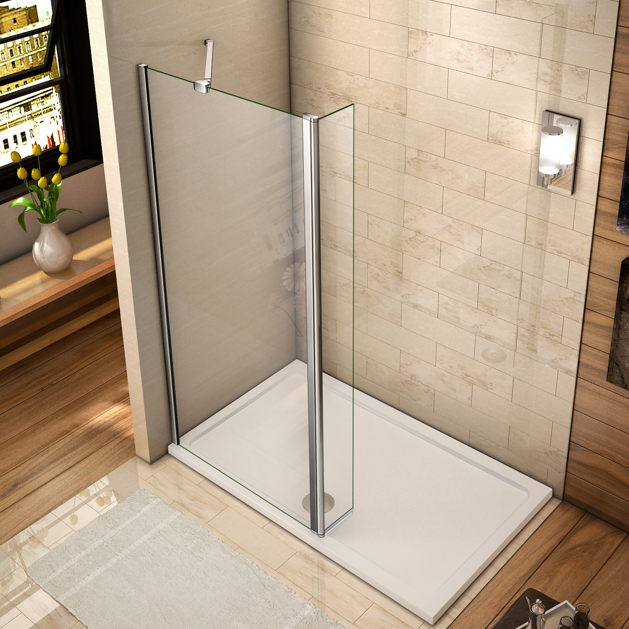 Luxury Wet Room Shower Enclosure Walk In 8mm NANO Glass Screen Panel ...