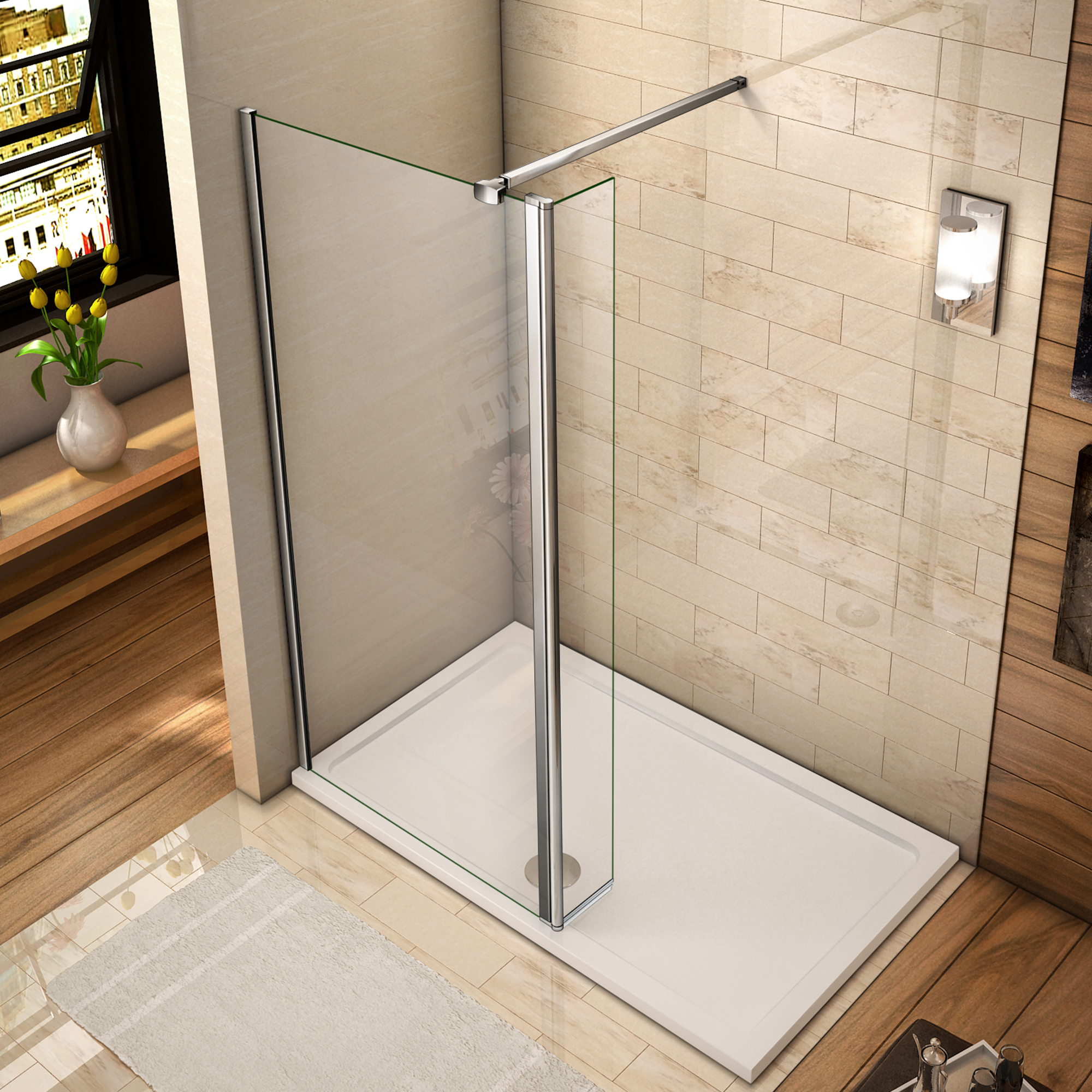 Walk In Shower Enclosure Wet Room Screen Amp 300mm Flipper