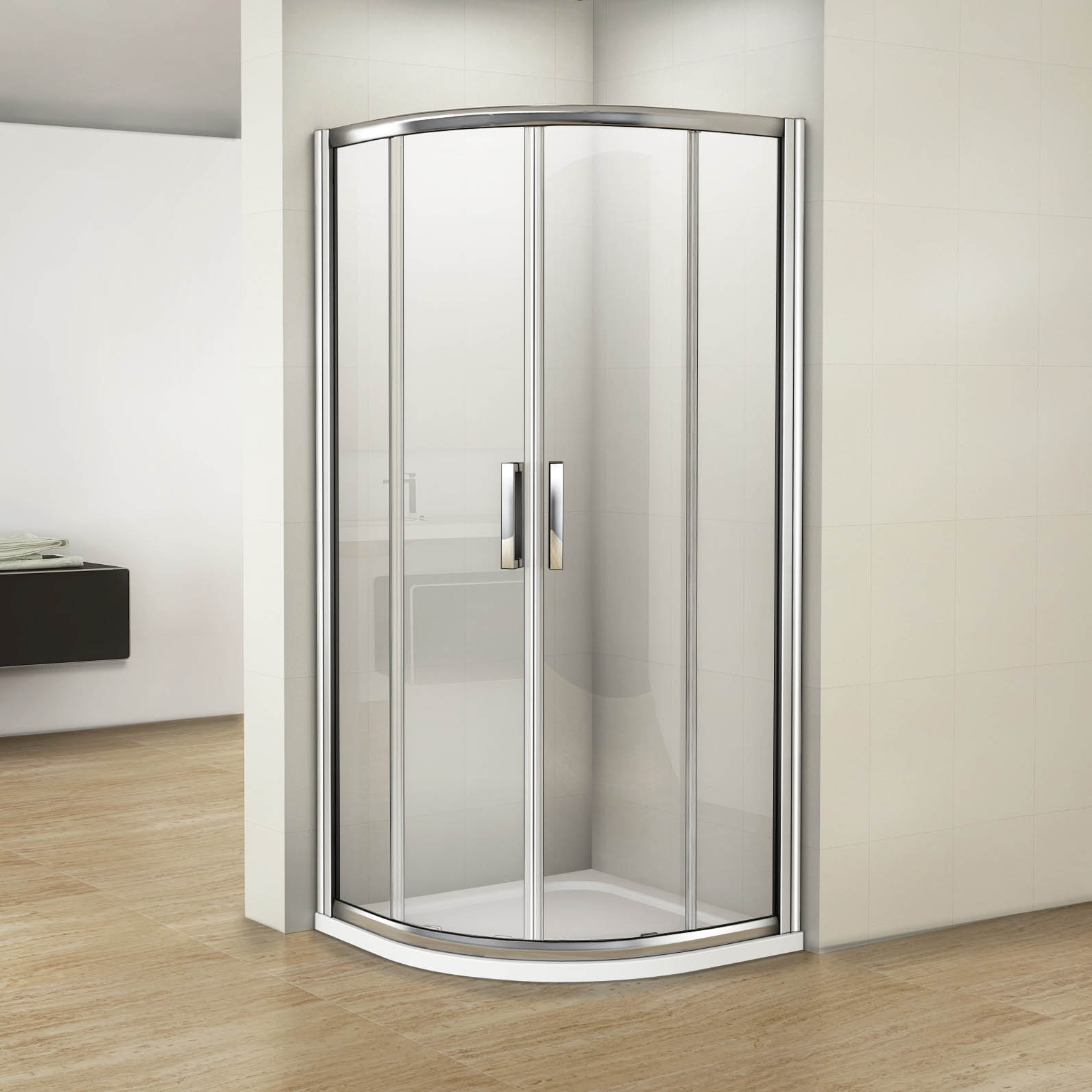 Luxury quadrant shower enclosure easy clean 8mm glass bathroom cubicle tray ebay - Luxury shower cubicles ...