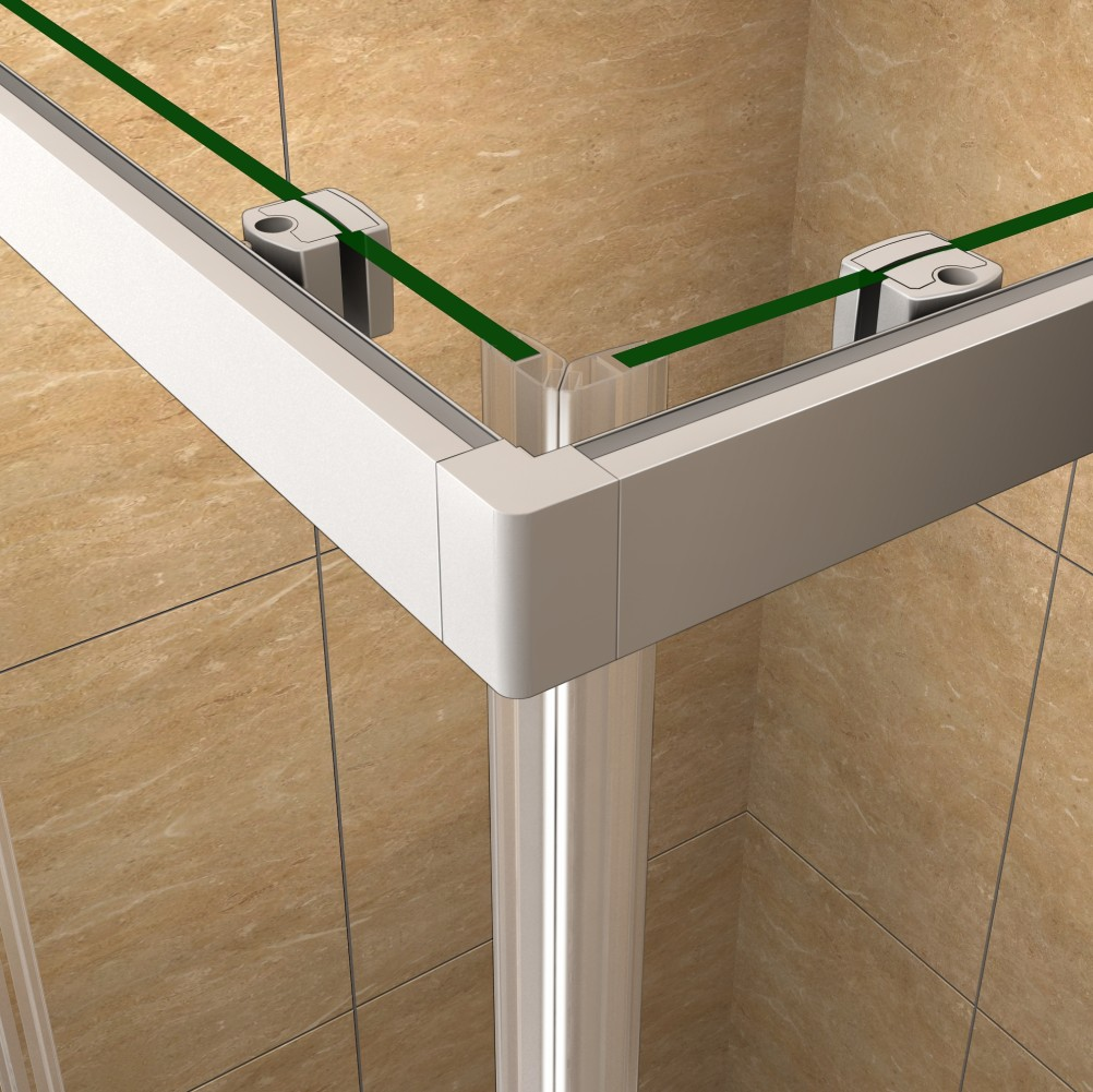 Corner entry shower enclosure tray sliding door safety for Corner sliding glass doors